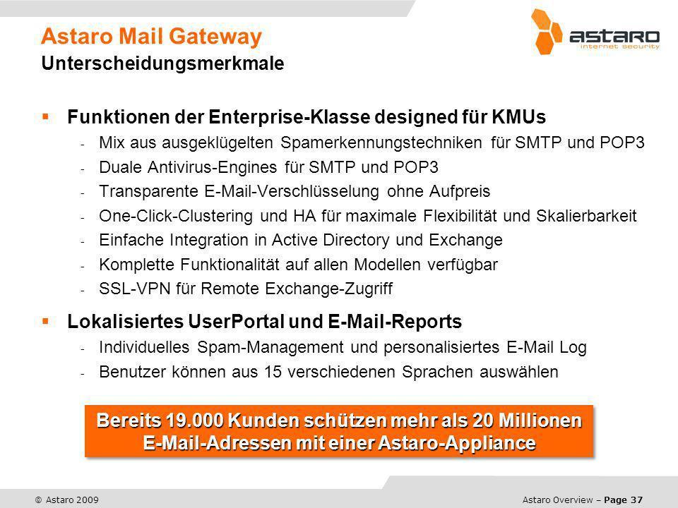 Astaro Overview – Page 37 © Astaro 2009 Astaro Mail Gateway Unterscheidungsmerkmale Funktionen der Enterprise-Klasse designed für KMUs - Mix aus ausge
