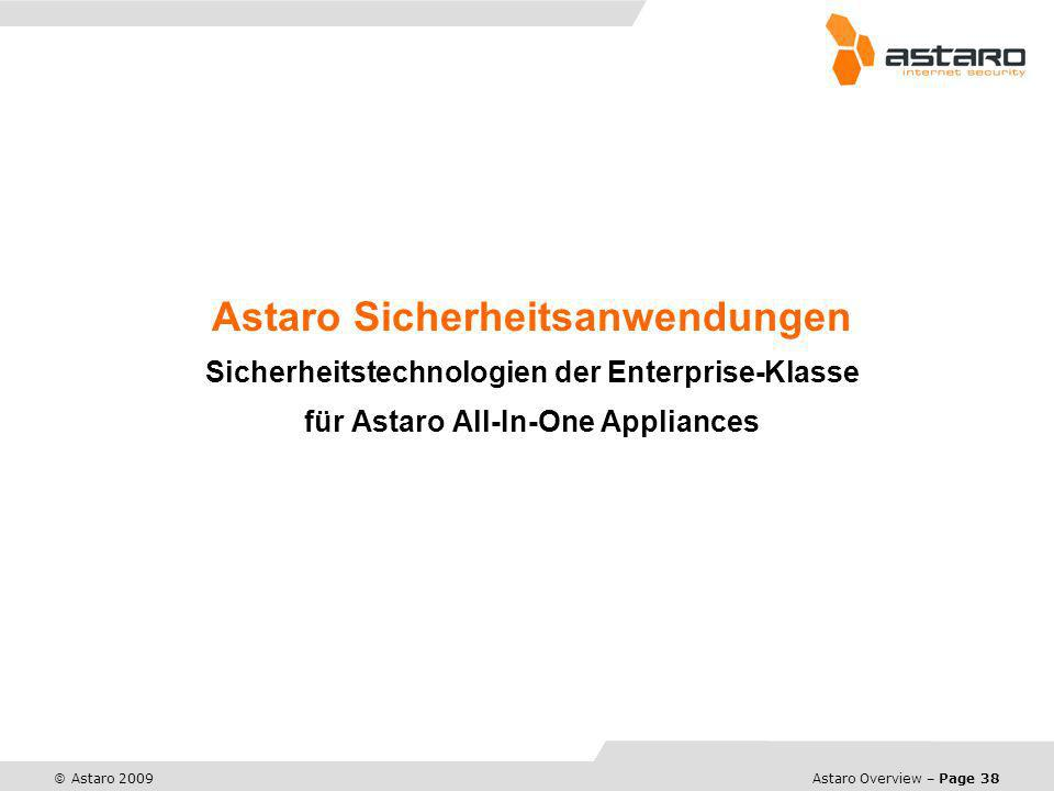 Astaro Overview – Page 38 © Astaro 2009 Astaro Sicherheitsanwendungen Sicherheitstechnologien der Enterprise-Klasse für Astaro All-In-One Appliances