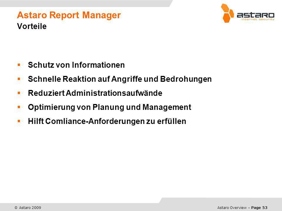 Astaro Overview – Page 53 © Astaro 2009 Astaro Report Manager Vorteile Schutz von Informationen Schnelle Reaktion auf Angriffe und Bedrohungen Reduzie