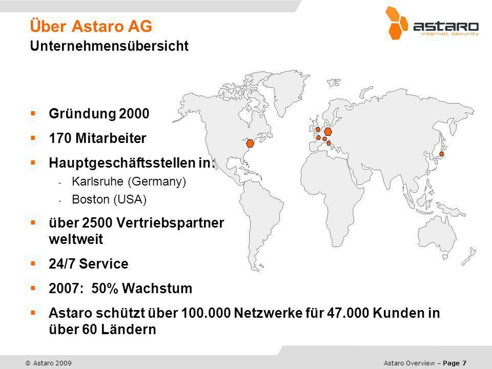 Astaro Overview – Page 8 © Astaro 2009 Über Astaro AG Unser Business Astaro ist ein Führender Anbieter von All-In-One Internet Security Appliances fürMittelständische Unternehmen und Organisationen Mit Bedarfan integrierten Komplettlösungen für Email-, Web- und Netzwerk-Sicherheit.