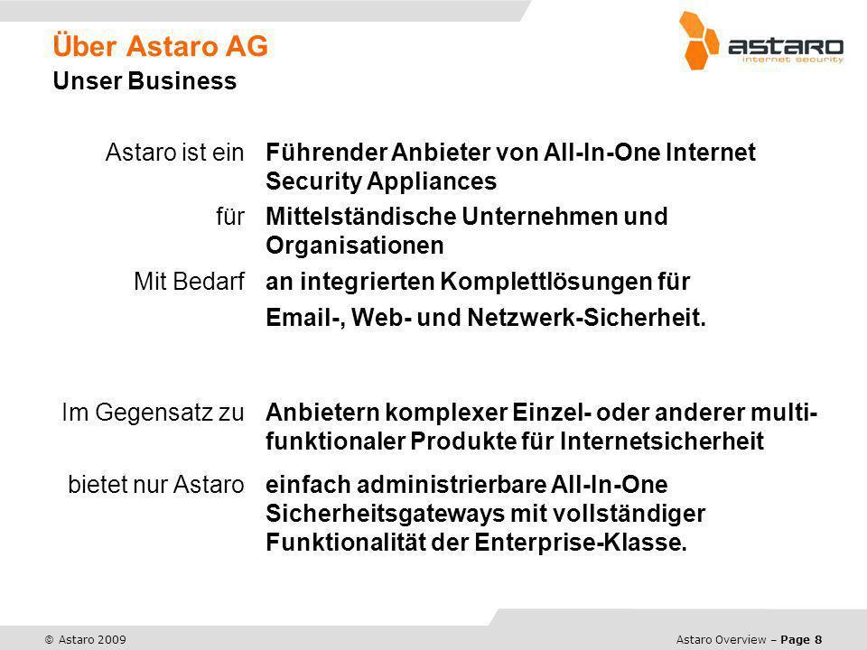 Astaro Overview – Page 8 © Astaro 2009 Über Astaro AG Unser Business Astaro ist ein Führender Anbieter von All-In-One Internet Security Appliances für