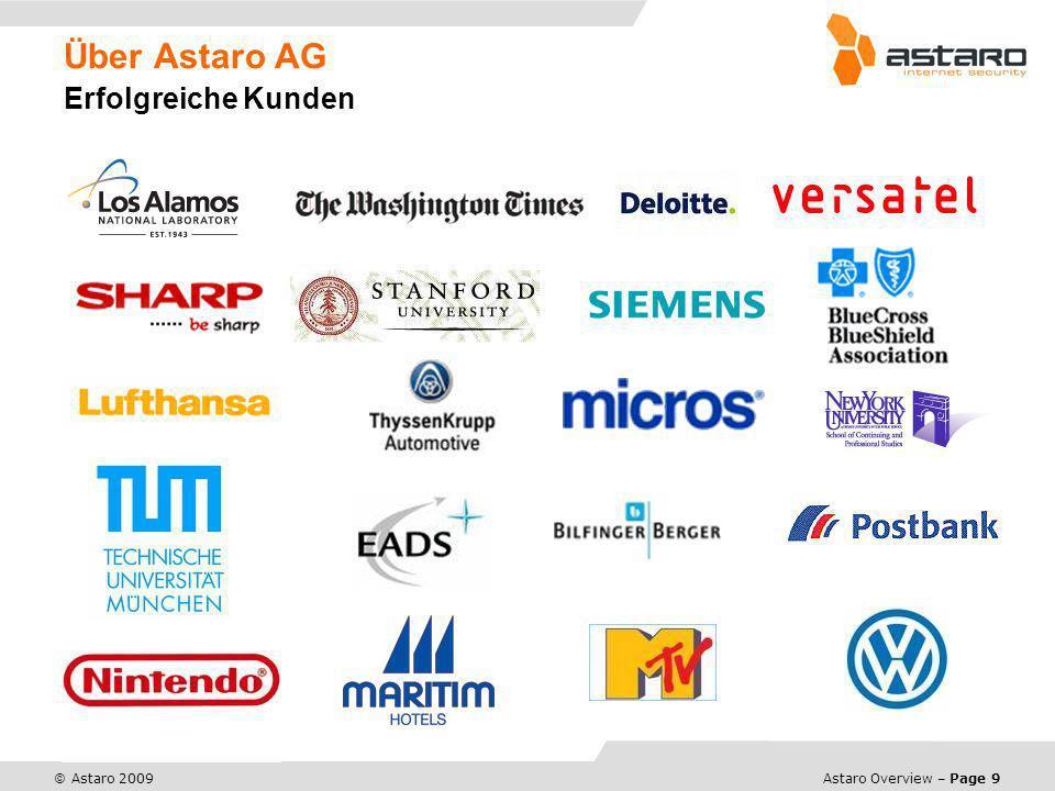 Astaro Overview – Page 9 © Astaro 2009 Über Astaro AG Erfolgreiche Kunden