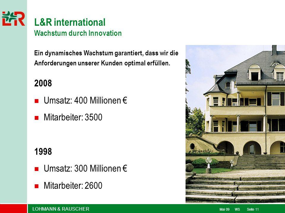 LOHMANN & RAUSCHER Mai 09 WS Seite 11 L&R international Wachstum durch Innovation Ein dynamisches Wachstum garantiert, dass wir die Anforderungen unse