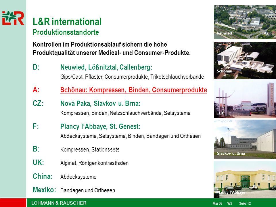 LOHMANN & RAUSCHER Mai 09 WS Seite 12 D: Neuwied, Lößnitztal, Callenberg: Gips/Cast, Pflaster, Consumerprodukte, Trikotschlauchverbände F: Plancy lAbb