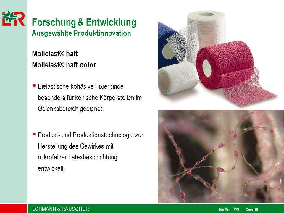 LOHMANN & RAUSCHER Mai 09 WS Seite 18 Mollelast® haft Mollelast® haft color Bielastische kohäsive Fixierbinde besonders für konische Körperstellen im