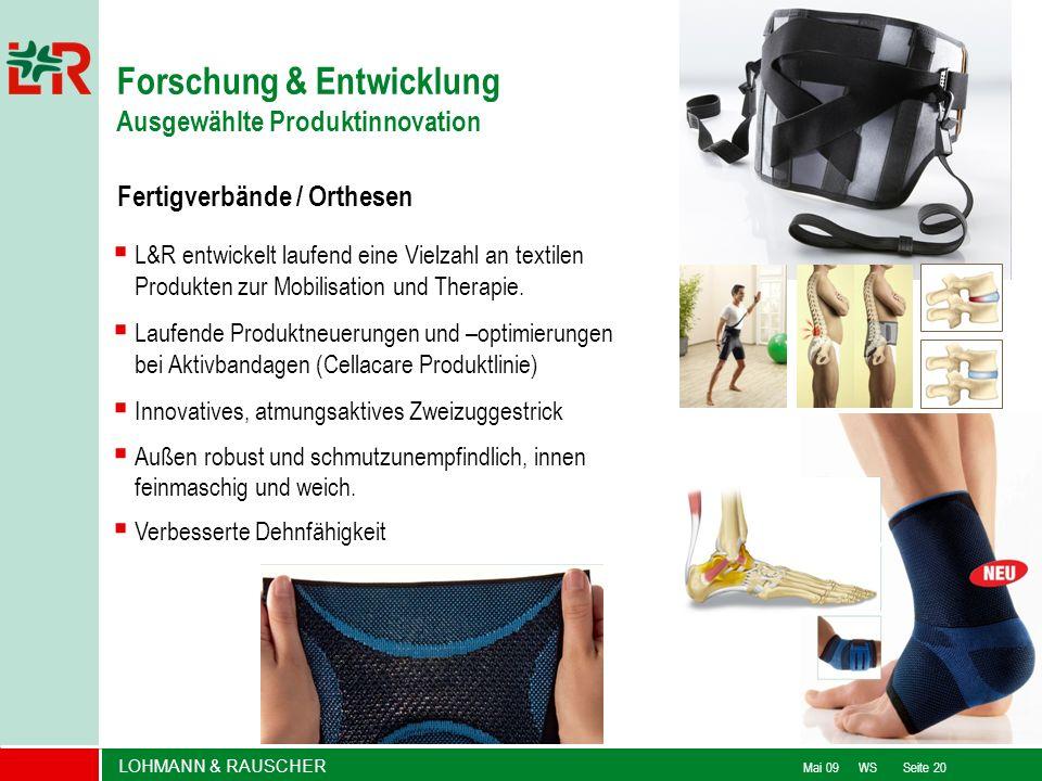 LOHMANN & RAUSCHER Mai 09 WS Seite 20 L&R entwickelt laufend eine Vielzahl an textilen Produkten zur Mobilisation und Therapie. Laufende Produktneueru
