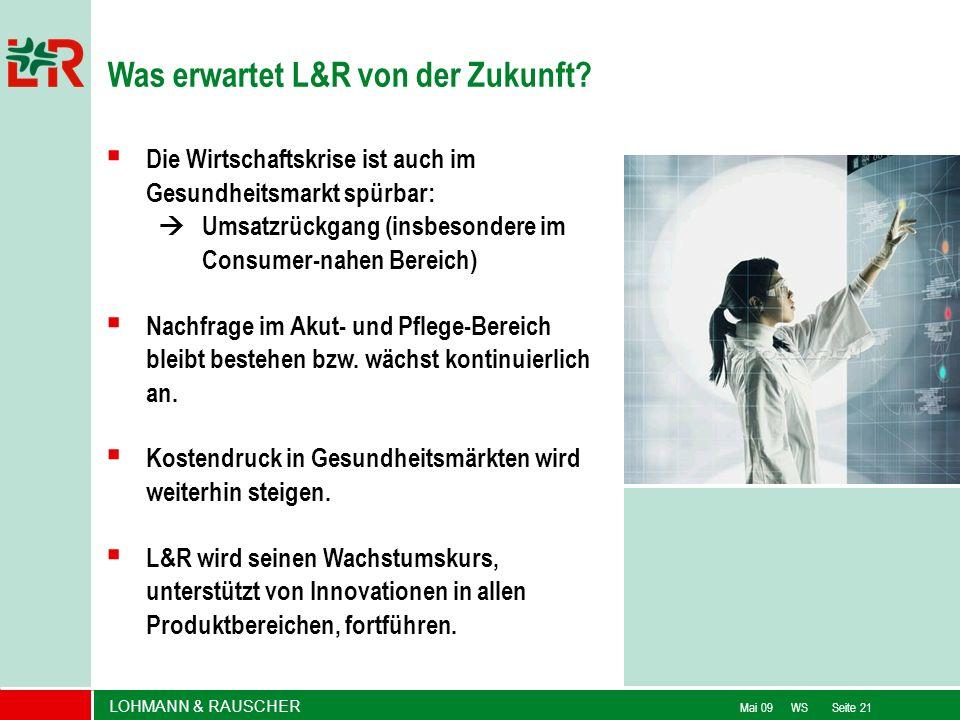 LOHMANN & RAUSCHER Mai 09 WS Seite 21 Die Wirtschaftskrise ist auch im Gesundheitsmarkt spürbar: Umsatzrückgang (insbesondere im Consumer-nahen Bereic