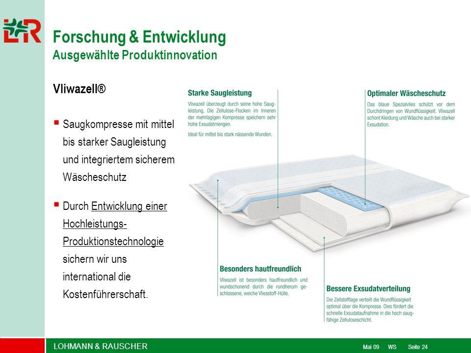 LOHMANN & RAUSCHER Mai 09 WS Seite 24 Vliwazell® Saugkompresse mit mittel bis starker Saugleistung und integriertem sicherem Wäscheschutz Durch Entwic