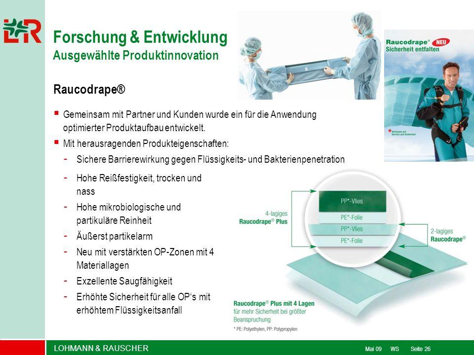 LOHMANN & RAUSCHER Mai 09 WS Seite 26 Raucodrape® Forschung & Entwicklung Ausgewählte Produktinnovation Gemeinsam mit Partner und Kunden wurde ein für