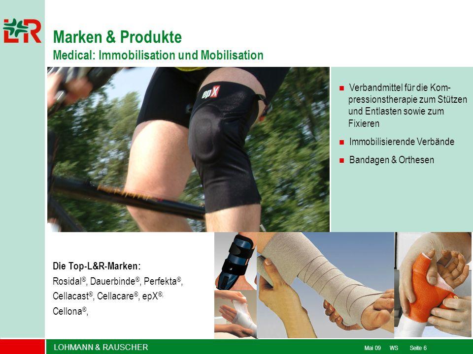 LOHMANN & RAUSCHER Mai 09 WS Seite 6 Verbandmittel für die Kom- pressionstherapie zum Stützen und Entlasten sowie zum Fixieren Immobilisierende Verbän