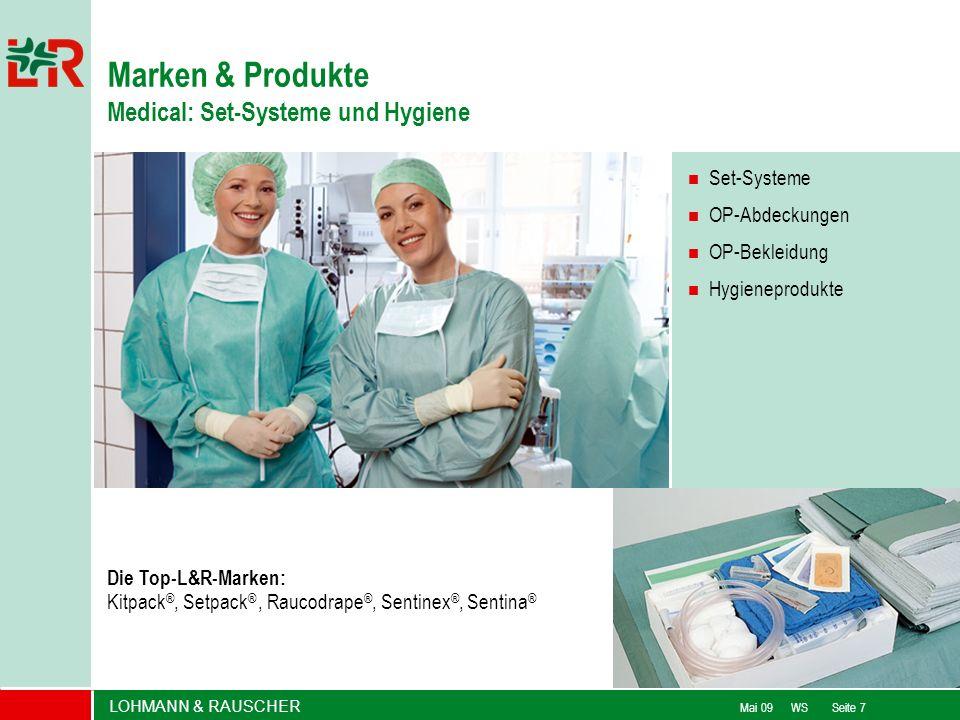 LOHMANN & RAUSCHER Mai 09 WS Seite 7 Set-Systeme OP-Abdeckungen OP-Bekleidung Hygieneprodukte Die Top-L&R-Marken: Kitpack ®, Setpack ®, Raucodrape ®,