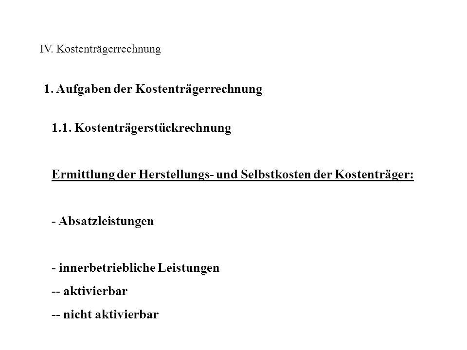 IV.Kostenträgerrechnung 1. Aufgaben der Kostenträgerrechnung 1.1.1.