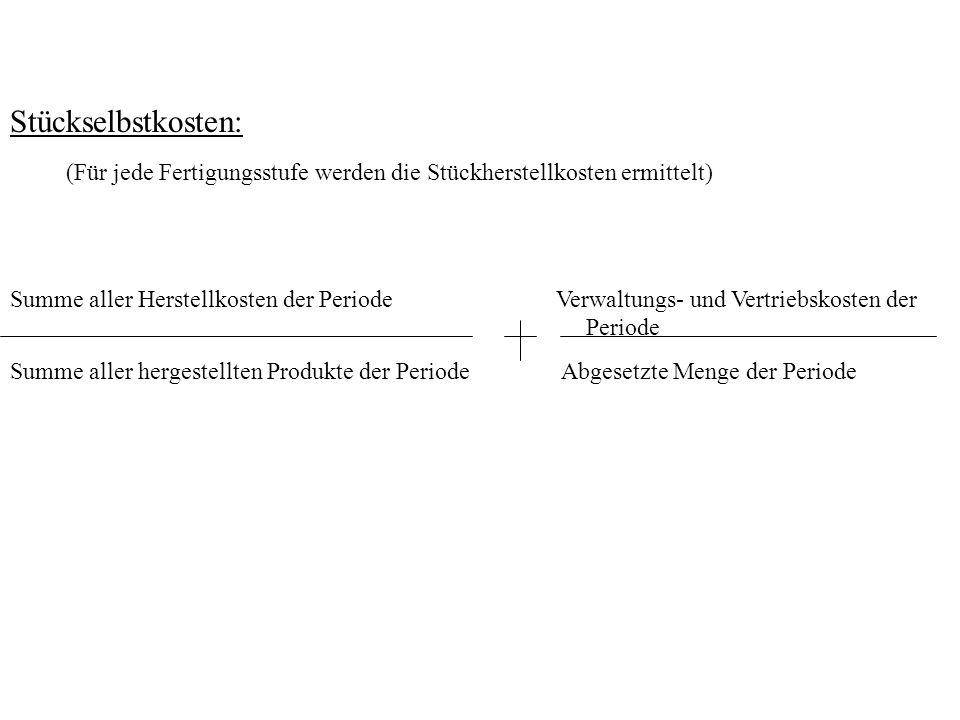 Stückselbstkosten: Summe aller Herstellkosten der Periode Verwaltungs- und Vertriebskosten der Periode Summe aller hergestellten Produkte der Periode