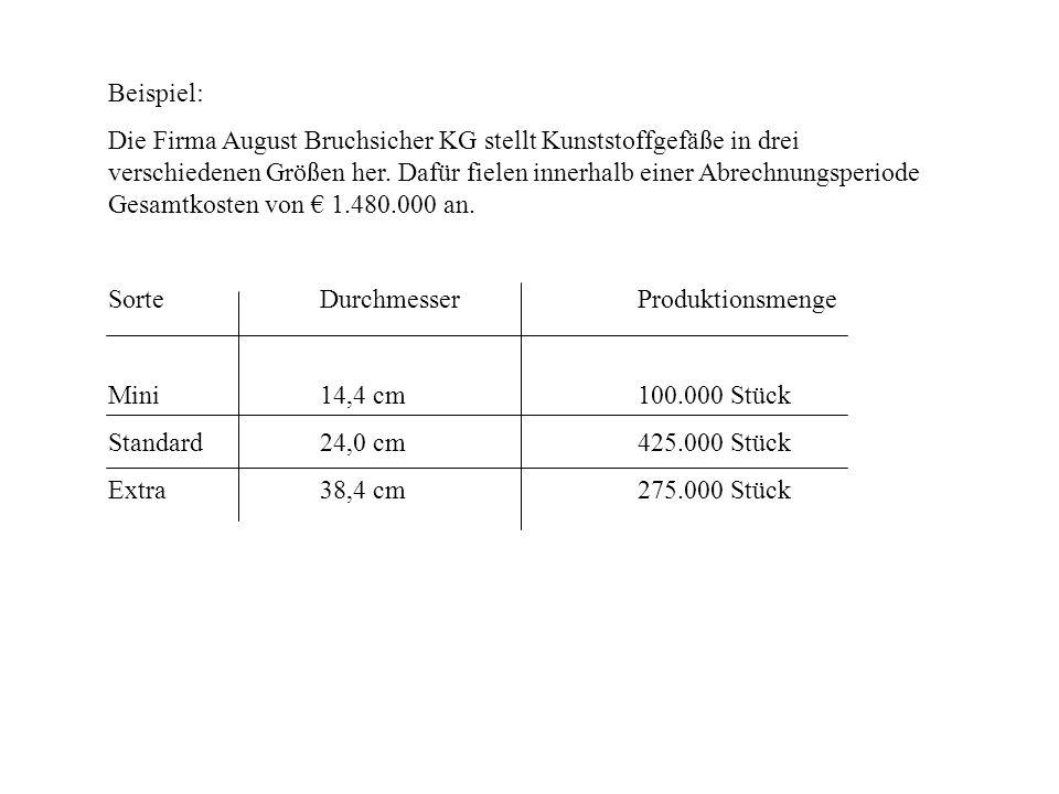 Beispiel: Die Firma August Bruchsicher KG stellt Kunststoffgefäße in drei verschiedenen Größen her. Dafür fielen innerhalb einer Abrechnungsperiode Ge