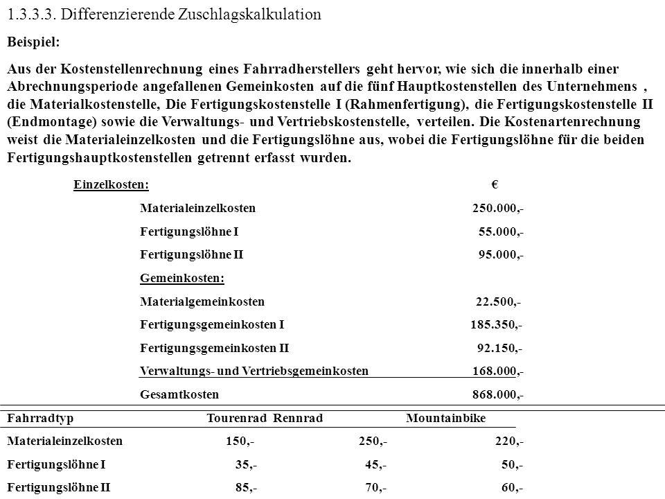 1.3.3.3. Differenzierende Zuschlagskalkulation Beispiel: Aus der Kostenstellenrechnung eines Fahrradherstellers geht hervor, wie sich die innerhalb ei