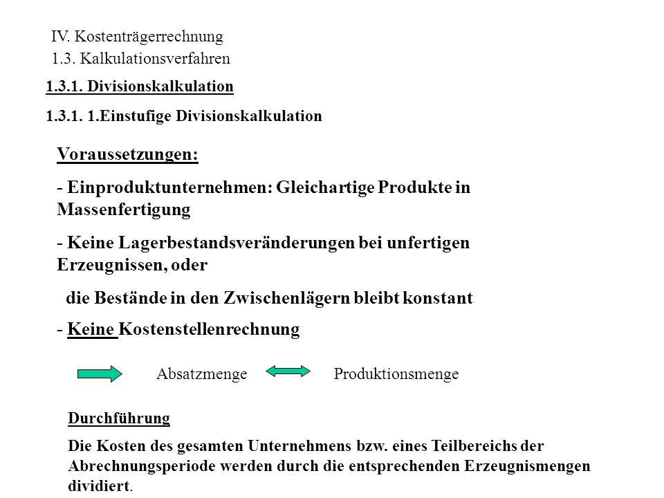 Beispiel: Die Firma August Bruchsicher KG stellt ausschließlich gleichartige Kunststoffgefäße in Massenfertigung her.