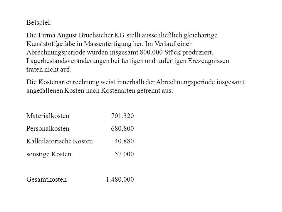 Beispiel: Die Firma August Bruchsicher KG stellt ausschließlich gleichartige Kunststoffgefäße in Massenfertigung her. Im Verlauf einer Abrechnungsperi