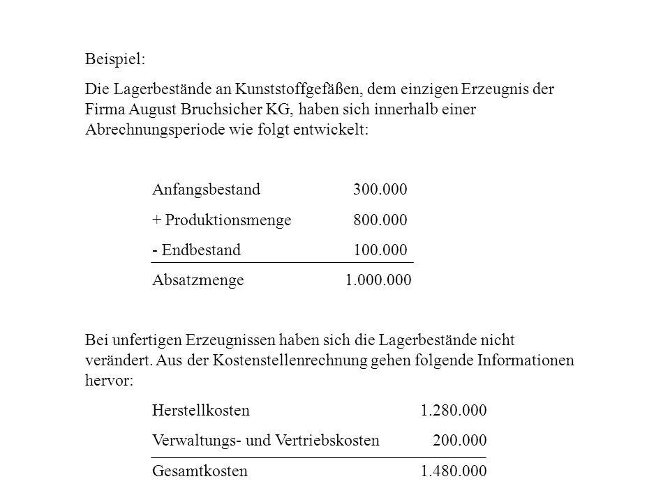 Beispiel: Die Lagerbestände an Kunststoffgefäßen, dem einzigen Erzeugnis der Firma August Bruchsicher KG, haben sich innerhalb einer Abrechnungsperiod