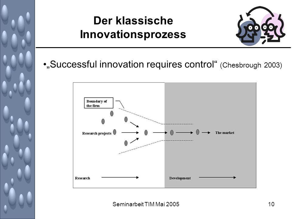 Seminarbeit TIM Mai 200510 Der klassische Innovationsprozess Successful innovation requires control (Chesbrough 2003)