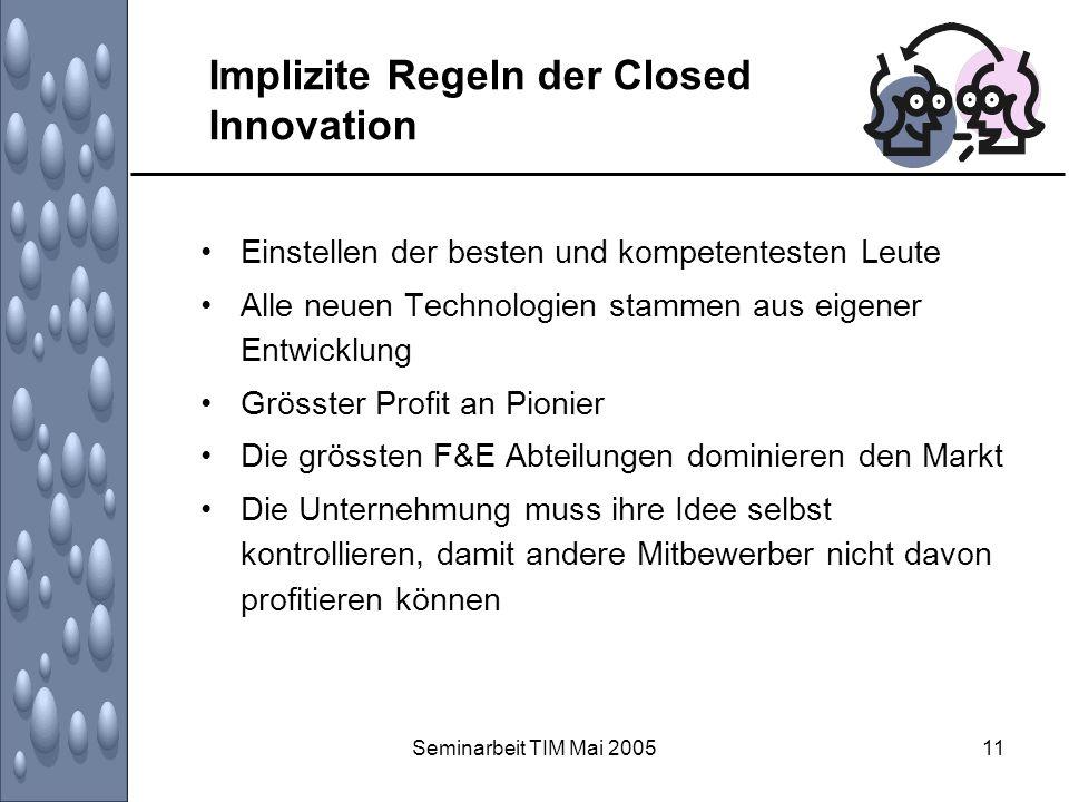 Seminarbeit TIM Mai 200511 Implizite Regeln der Closed Innovation Einstellen der besten und kompetentesten Leute Alle neuen Technologien stammen aus e