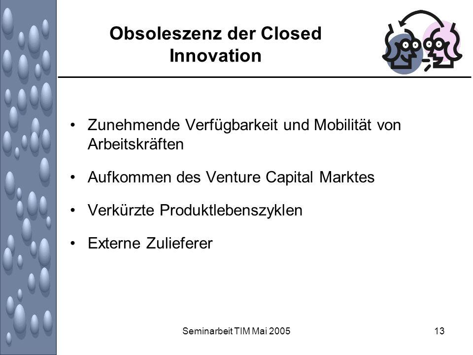 Seminarbeit TIM Mai 200513 Obsoleszenz der Closed Innovation Zunehmende Verfügbarkeit und Mobilität von Arbeitskräften Aufkommen des Venture Capital M