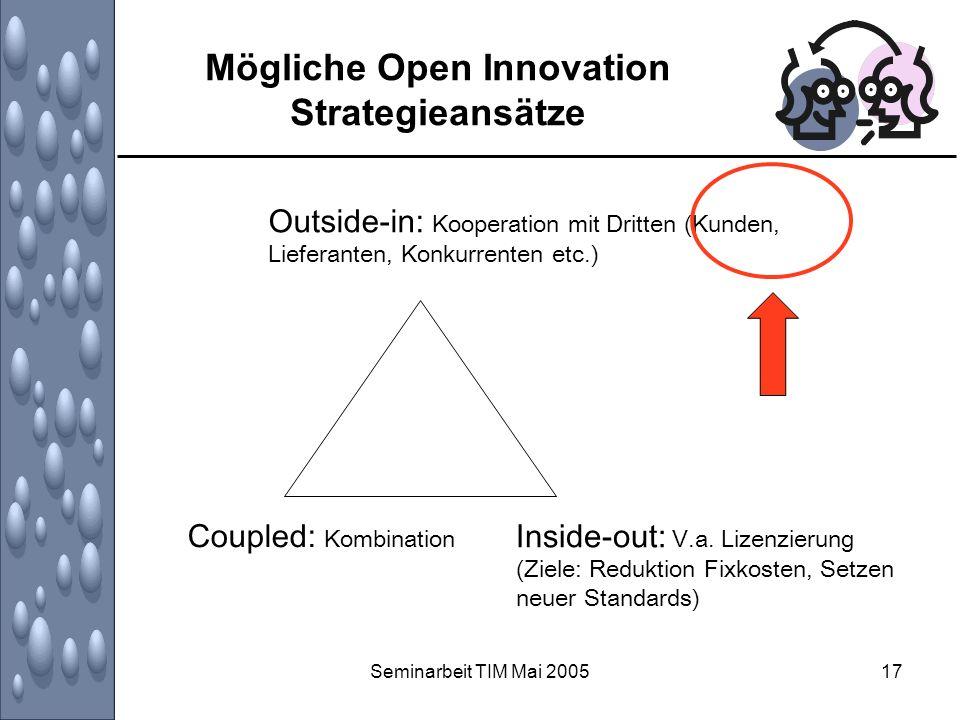 Seminarbeit TIM Mai 200517 Mögliche Open Innovation Strategieansätze Outside-in: Kooperation mit Dritten (Kunden, Lieferanten, Konkurrenten etc.) Coup