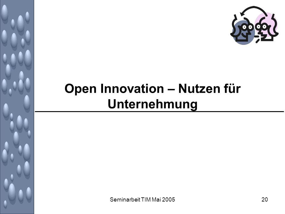 Seminarbeit TIM Mai 200520 Open Innovation – Nutzen für Unternehmung