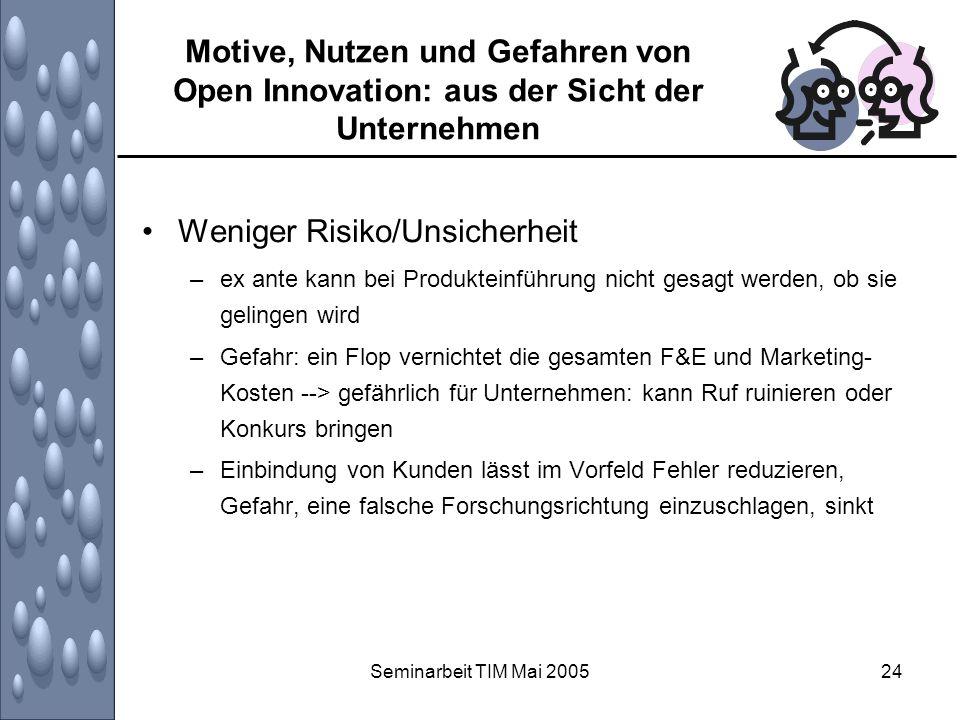 Seminarbeit TIM Mai 200524 Motive, Nutzen und Gefahren von Open Innovation: aus der Sicht der Unternehmen Weniger Risiko/Unsicherheit –ex ante kann be