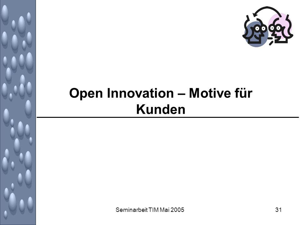 Seminarbeit TIM Mai 200531 Open Innovation – Motive für Kunden