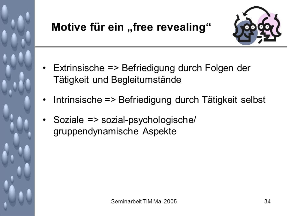 Seminarbeit TIM Mai 200534 Motive für ein free revealing Extrinsische => Befriedigung durch Folgen der Tätigkeit und Begleitumstände Intrinsische => B