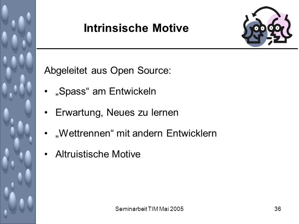 Seminarbeit TIM Mai 200536 Intrinsische Motive Abgeleitet aus Open Source: Spass am Entwickeln Erwartung, Neues zu lernen Wettrennen mit andern Entwic