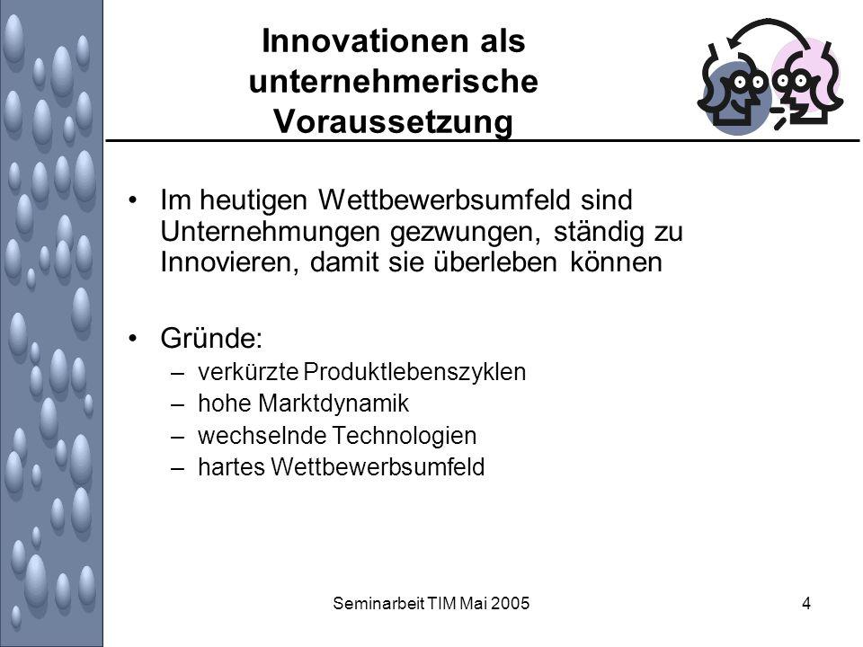 Seminarbeit TIM Mai 20055 Innovationen als unternehmerische Voraussetzung Erkenntnis ist nicht neu: Schumpeter sah bereits 1912 den Unternehmer als schöpferischen Zerstörer Viele Publikationen, die Wettbewerbsvorteile und erfolgreiche Unternehmensgründungen auf Innovationsfähigkeit zurückführen auch auf Volkswirtschaftlicher Makro-Ebene sind Innovationen eine Triebfeder des Wirtschaftswachstums