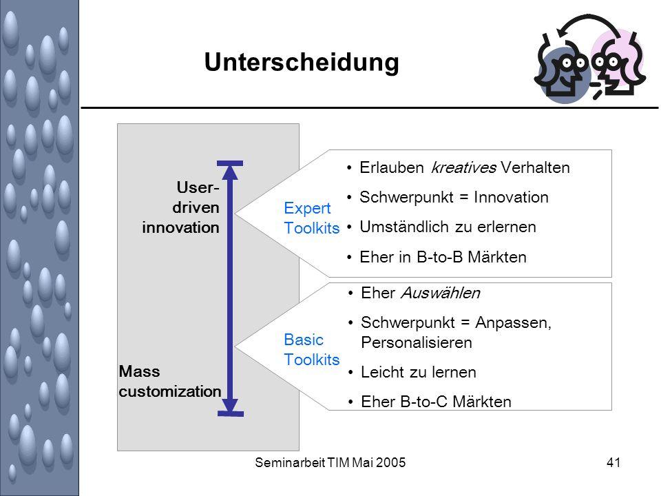 Seminarbeit TIM Mai 200541 Unterscheidung Expert Toolkits Erlauben kreatives Verhalten Schwerpunkt = Innovation Umständlich zu erlernen Eher in B-to-B