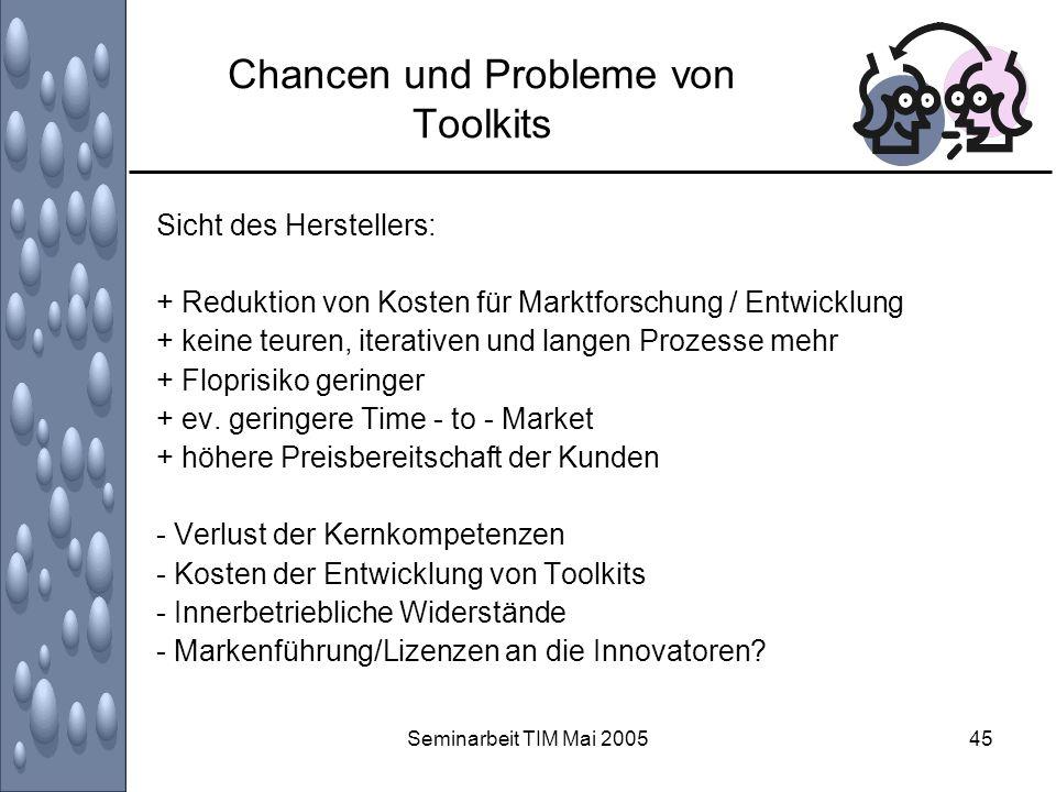 Seminarbeit TIM Mai 200545 Chancen und Probleme von Toolkits Sicht des Herstellers: + Reduktion von Kosten für Marktforschung / Entwicklung + keine te