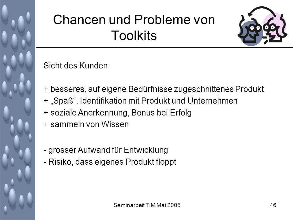 Seminarbeit TIM Mai 200546 Chancen und Probleme von Toolkits Sicht des Kunden: + besseres, auf eigene Bedürfnisse zugeschnittenes Produkt + Spaß, Iden