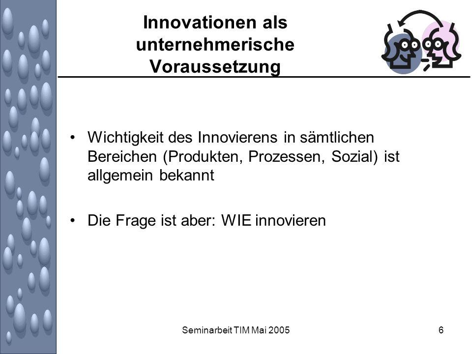 Seminarbeit TIM Mai 20057 Innovationen als unternehmerische Voraussetzung Innovationsprozesse bergen Risiken in sich, die der Unternehmung im schlimmsten Fall den Kopf kosten kann, weil die Innovation scheitert (floppt).