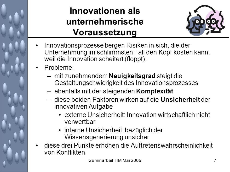 Seminarbeit TIM Mai 200548 Zusammenfassung Innovationen sind nötig Klassischer Innovationsprozess: Kunden haben passive Rolle und dienen der Unternehmung als Bedürfnislieferanten Zusammenarbeit mit Kunden wirken sich positiv auf Innovationstätigkeit der Unternehmung aus (z.B.