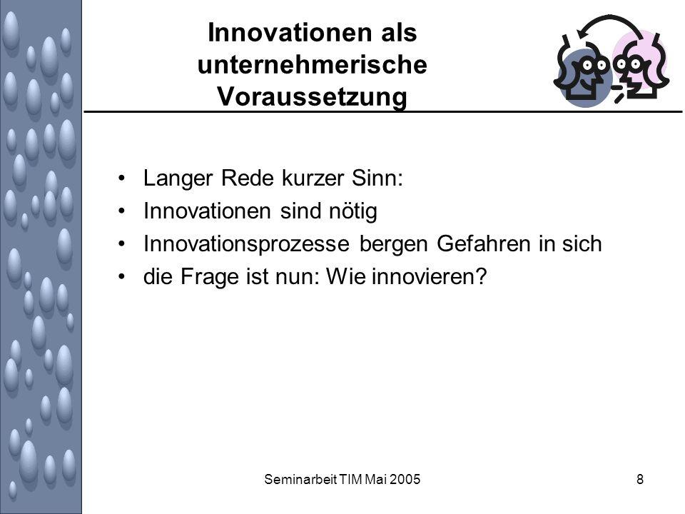 Seminarbeit TIM Mai 200529 Motive, Nutzen und Gefahren von Open Innovation: aus der Sicht der Unternehmen Beschränkung auf bloss stufenweise Innovationen –wenn der Kunde zuwenig visionär ist, entstehen vielleicht nur schrittweise Innovationen, statt radikal neue Produkte, weil sie immer noch an die bisherige Verwendung des Produktes denken