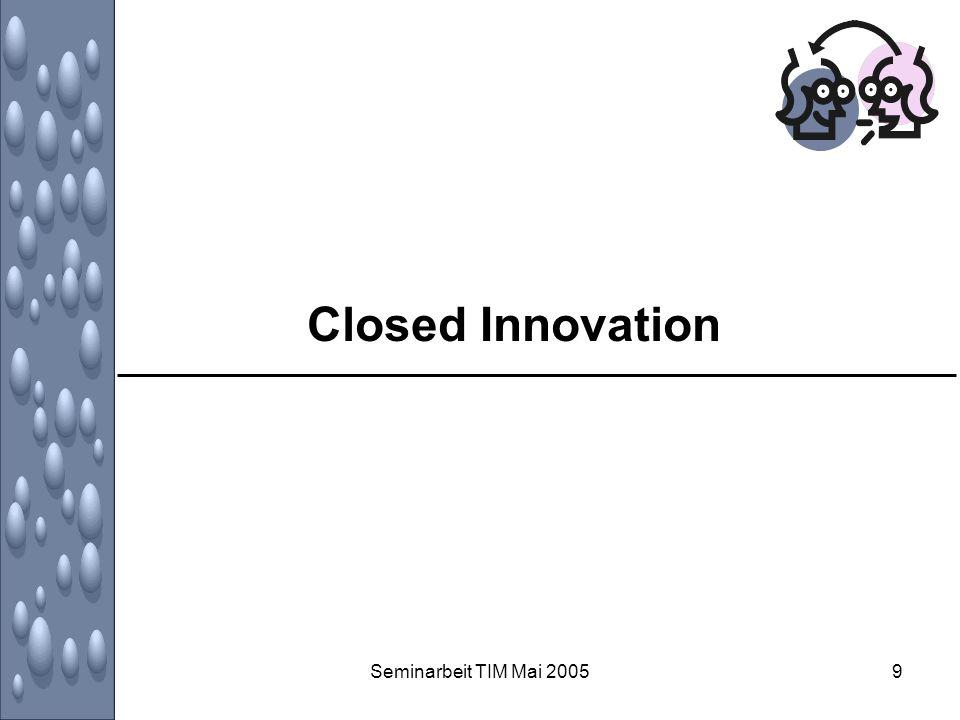 Seminarbeit TIM Mai 200530 Motive, Nutzen und Gefahren von Open Innovation: aus der Sicht der Unternehmen Beschränkung auf Nischenmarkt –vielleicht kann der integrierte (Lead-)User nicht den ganzen Markt anführen, und seine Ideen können nur einen Nischenmarkt befriedigen –Unternehmen sind möglicherweise enttäuscht über den geringen Gewinn