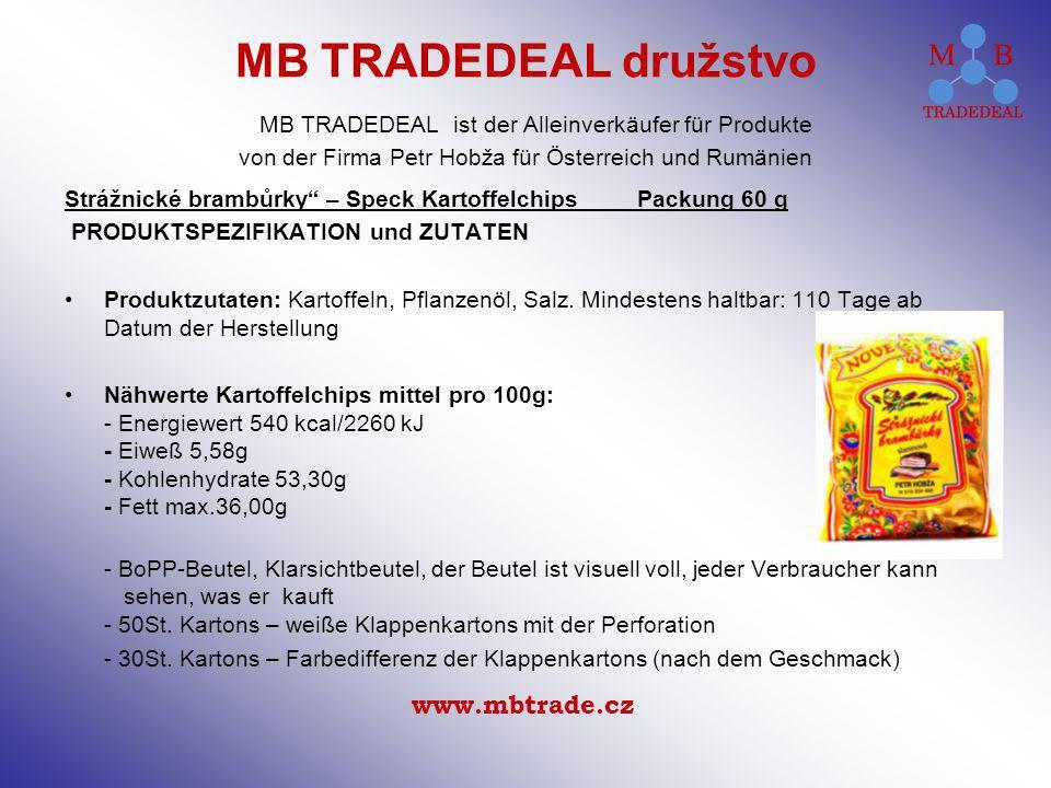 Strážnické brambůrky – Speck Kartoffelchips Packung 60 g PRODUKTSPEZIFIKATION und ZUTATEN Produktzutaten: Kartoffeln, Pflanzenöl, Salz. Mindestens hal