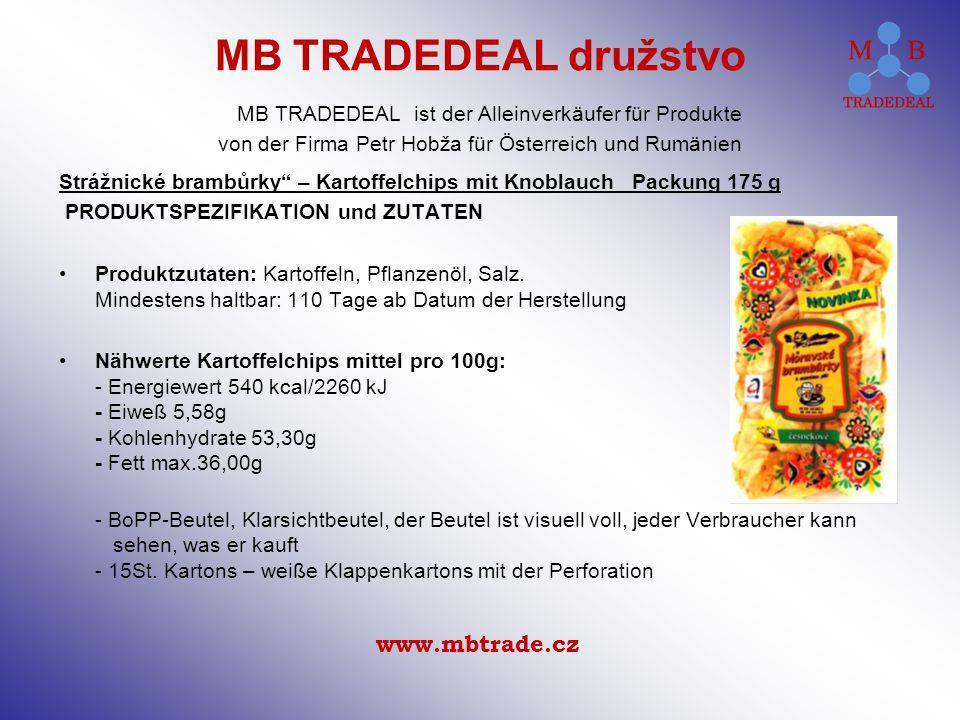 Strážnické brambůrky – Kartoffelchips mit Knoblauch Packung 175 g PRODUKTSPEZIFIKATION und ZUTATEN Produktzutaten: Kartoffeln, Pflanzenöl, Salz.