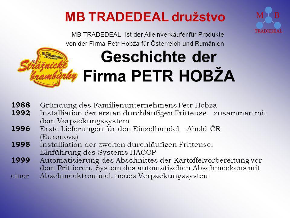 Geschichte der Firma PETR HOBŽA 1988 Gründung des Familienunternehmens Petr Hobža 1992 Installiation der ersten durchläufigen Fritteuse zusammen mit d