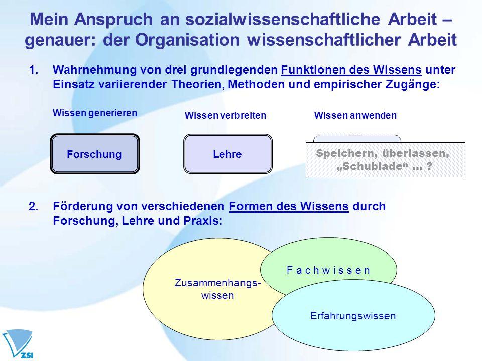 Mein Anspruch an sozialwissenschaftliche Arbeit – genauer: der Organisation wissenschaftlicher Arbeit 1.Wahrnehmung von drei grundlegenden Funktionen