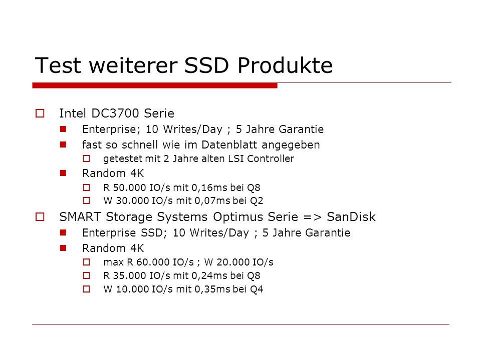 Test weiterer SSD Produkte Intel DC3700 Serie Enterprise; 10 Writes/Day ; 5 Jahre Garantie fast so schnell wie im Datenblatt angegeben getestet mit 2