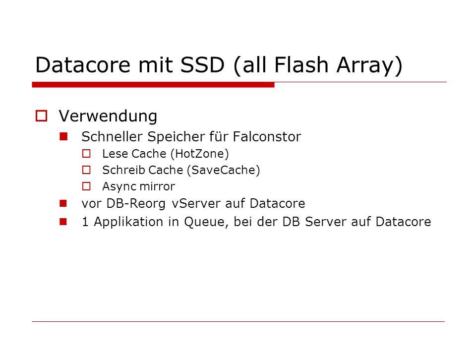 Datacore mit SSD (all Flash Array) Verwendung Schneller Speicher für Falconstor Lese Cache (HotZone) Schreib Cache (SaveCache) Async mirror vor DB-Reo