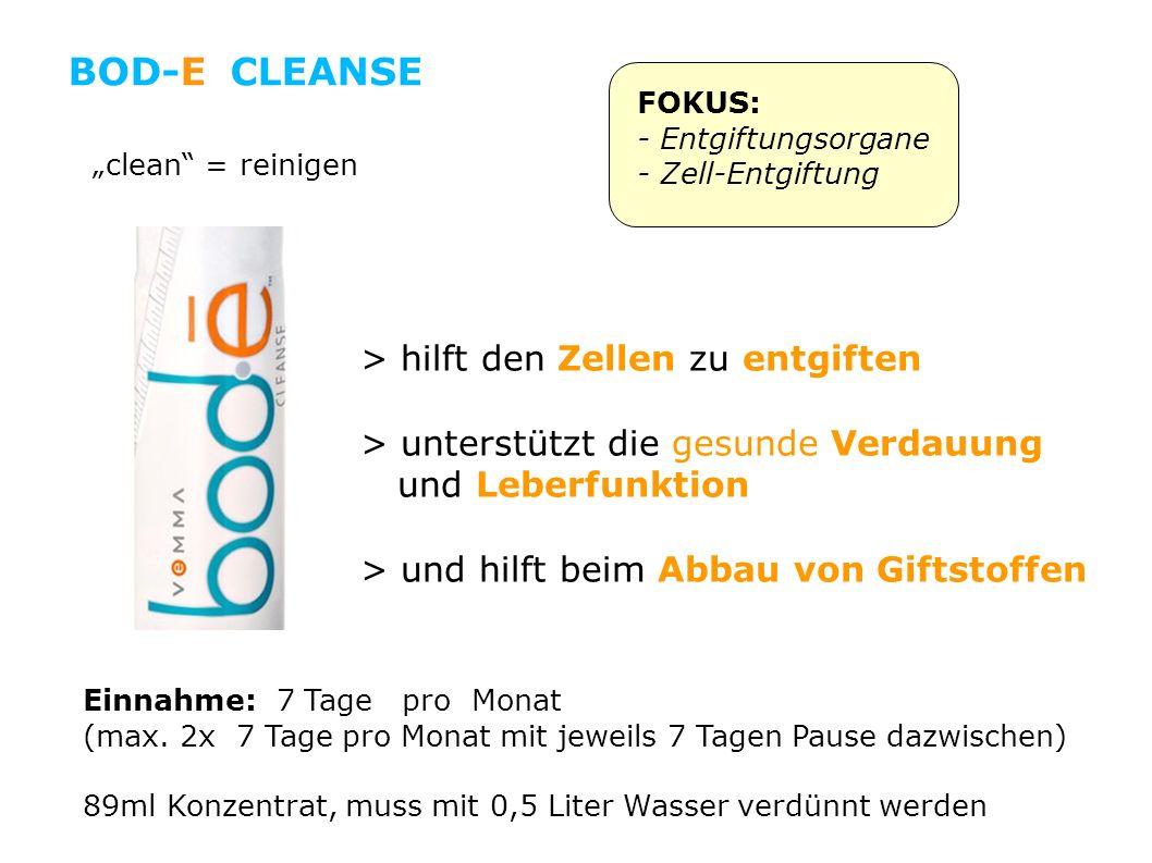 > hilft den Zellen zu entgiften > unterstützt die gesunde Verdauung und Leberfunktion > und hilft beim Abbau von Giftstoffen clean = reinigen FOKUS: - Entgiftungsorgane - Zell-Entgiftung Einnahme: 7 Tage pro Monat (max.
