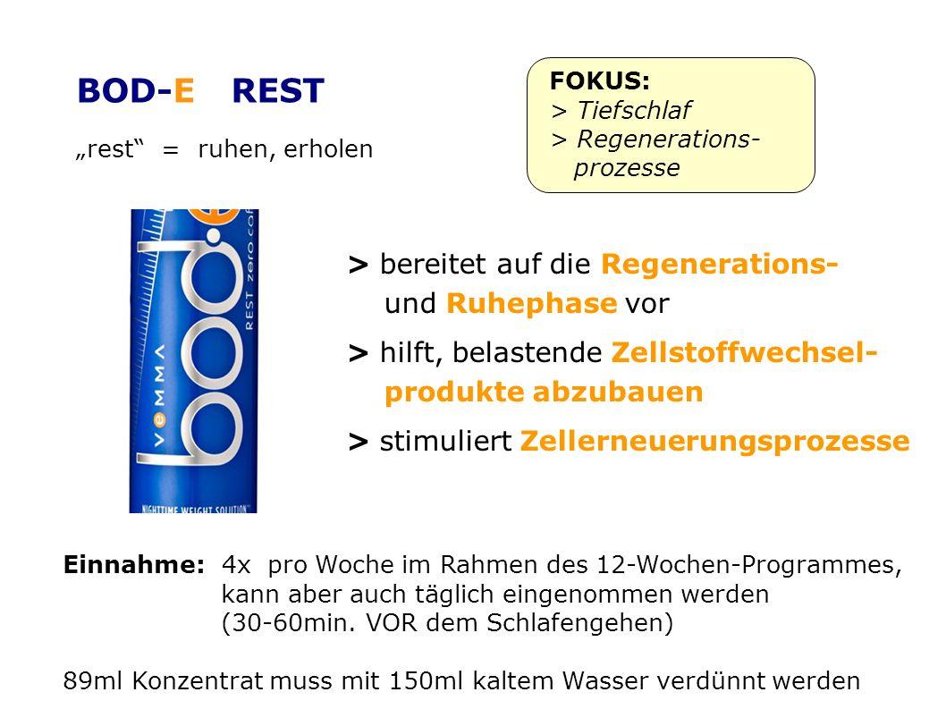 rest = ruhen, erholen FOKUS: > Tiefschlaf > Regenerations- prozesse > bereitet auf die Regenerations- und Ruhephase vor > hilft, belastende Zellstoffwechsel- produkte abzubauen > stimuliert Zellerneuerungsprozesse Einnahme: 4x pro Woche im Rahmen des 12-Wochen-Programmes, kann aber auch täglich eingenommen werden (30-60min.