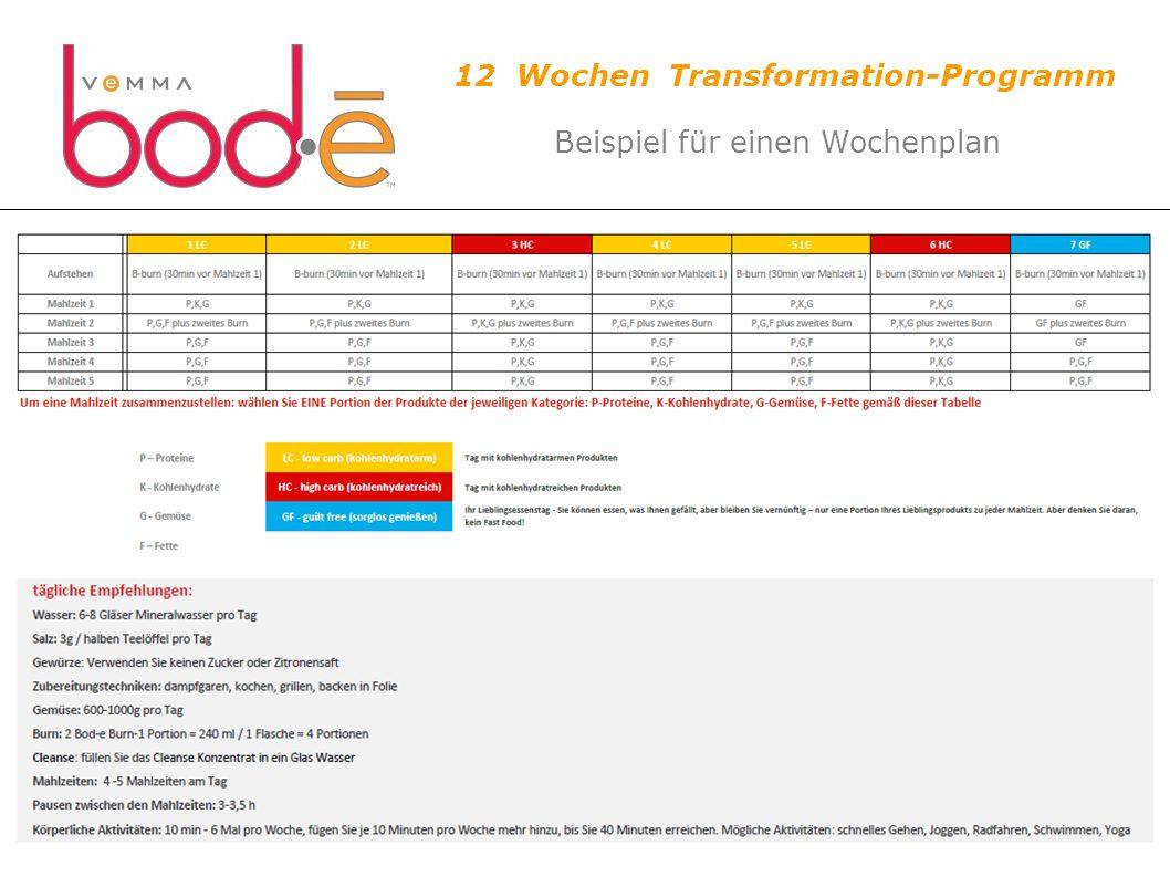 12 Wochen Transformation-Programm Beispiel für einen Wochenplan