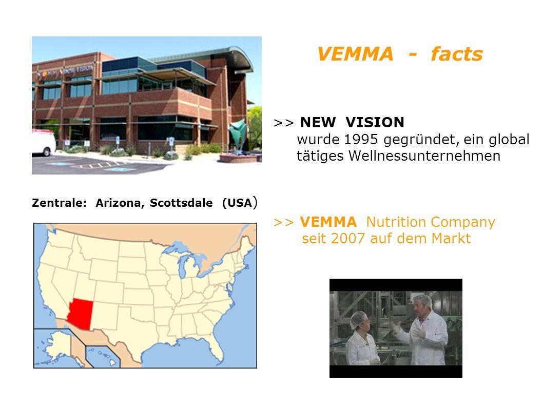 >> NEW VISION wurde 1995 gegründet, ein global tätiges Wellnessunternehmen >> VEMMA Nutrition Company seit 2007 auf dem Markt Zentrale: Arizona, Scottsdale (USA ) VEMMA - facts