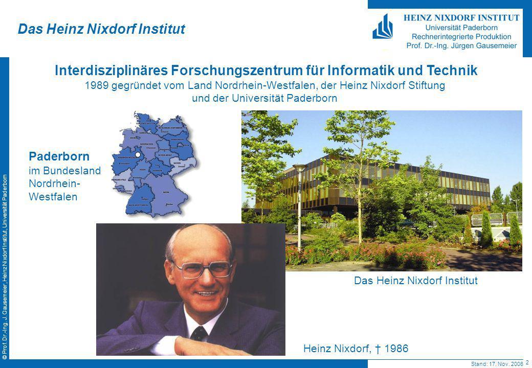 2 © Prof. Dr.-Ing. J. Gausemeier, Heinz Nixdorf Institut, Universität Paderborn Das Heinz Nixdorf Institut Interdisziplinäres Forschungszentrum für In